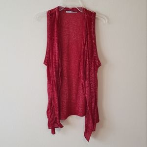 Maurices Red Open Front Braided Sleeveless Draped Asymmetric Cardigan Size Small